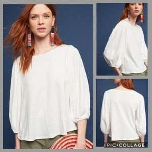 ANTHROPOLOGIE Sal Boatneck Tee White
